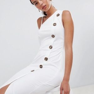 NWT ASOS White One Shoulder Side Button Midi Dress
